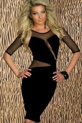 Bandeau Bodycon Dress Black Sleeves Party Evening Cocktail