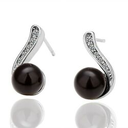 Plated Black Pearl Round Stud Earrings Gifts for Fashion Lovers Environmentally