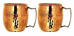 Taluka Set Of 2 Hand Crafted Pure Copper Moscow Mule Beer Mug Brass Handle Mug