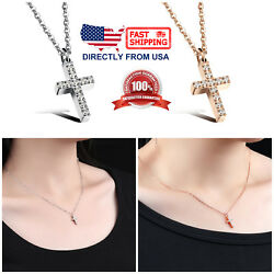 Women#x27;s Small Cubic Zirconia Cross Pendant Necklace in Stainless Steel $9.99