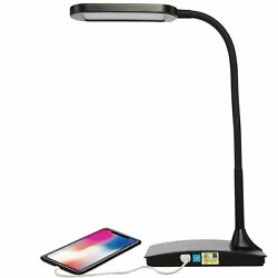 LED Desk Lamp with USB Charging Port 3 Way Touch Switch Dorm Room Office Black $17.19