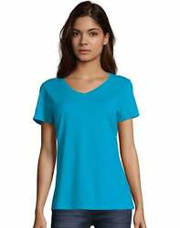 Hanes Womens T-Shirt Short Sleeve Top Nano-T V-Neck Solid Plain 100% Cotton SO4V