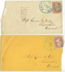 1864 covers to Snows Store Vermont DPO 1826 1866 Windsor County $10.00