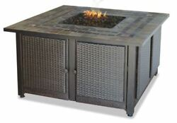 LP Gas Outdoor Firebowl with Slate Tile Mantel with Copper Accents