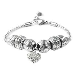 Crystal Rhinestone Stainless Steel Love Heart Charm Bracelet Bangle 7 8#x27;#x27; $14.71