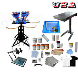 6 Color 6 Station Screen Printing Kit Color-matching Printer Flash Dryer Ink