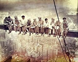 Lunch Atop A Skyscraper CANVAS OR PRINT WALL ART $12.00