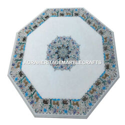 Marble Outdoor Coffee Cafe Table Top Animal Floral Fine Art Mosaic Decor H4499