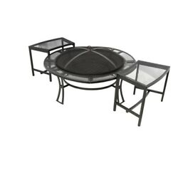 Outdoor Portable Furniture Fire Pit With Chairs Fireplace Seating Garden Bench
