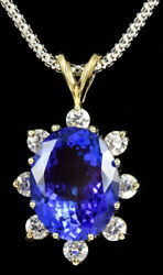 14K White Gold 6.76 CT Tanzanite & 0.72 Round Diamond Pendant Necklace