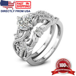 Women's White Gold Plated Cubic Zirconia Floral Engagement Wedding Ring Set