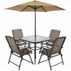 Garden Patio Dining Set Outdoor Furniture Chairs Glass Table Bistro Umbrella New