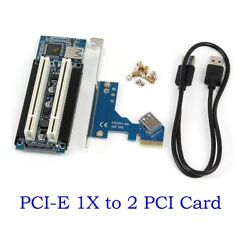 PCI E Express X1 to Dual PCI Riser Extend Adapter Card With USB 3.0 Cable $26.70