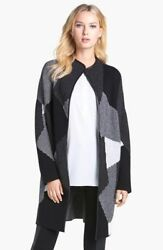 NEW Nordstrom Collection Leather Trim Cashmere Car Coat in BlackMulti - Size S