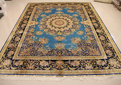 9' X 12' Beautiful Luxury Blue Navy Golden Swirls Hand Knotted Persian Silk Rug