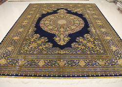 9' X 12' Stunning Vintage Hand Knotted Navy Golden Medallion Silk Persian Rug