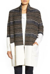 NEW Nordstrom Collection Fair Isle Wool & Cashmere Cardigan in IvoryMulti - S