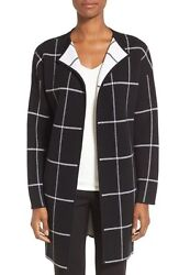 NEW Nordstrom Collection Cashmere Windowpane Sweater Jacket- BlackIvory S