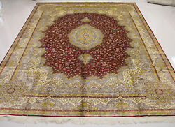 9' X 12' Luxury Golden Dark Red Hand Knotted Oriental Silk Carpet Turkish Beige