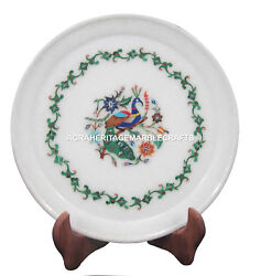 Marble Serving Tray Plate Lapis Stone Marquetry Pietra Dura Kitichen Gifts H1375