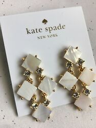 KATE SPADE Pearl Cove Chandelier Cream Earrings With Clear Glass Stones New $35.00