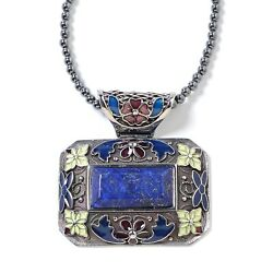 Lapis Lazuli Hematite Beads Flower Chain Pendant Necklace for Women 18