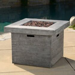 Outdoor Modern Fire Pit w Lava Rocks 40000 BTU Liquid Propane Patio Fireplace