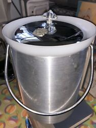 Vintage Retro Large Ice Bucket Mid Century Kromex Aluminum Chrome Atomic 9