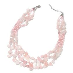 Rose Quartz Pink Glass Drape Necklace Gift Jewelry 18