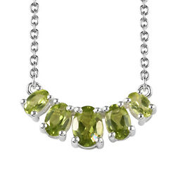 Peridot 925 Sterling Silver 5 Stone Bar Chain Necklace Gift for Women 18