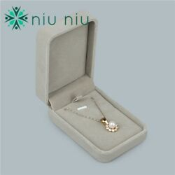 High Quality Gray Velvet Necklace Pendant Gift Box Case Jewelry Display