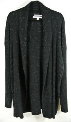 NEW Nordstrom Signature Cashmere Ribbed Speckled Cardigan in Black - Size XL