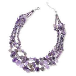 Amethyst Purple Glass Strand Statement Necklace for Women Gift Jewelry 18