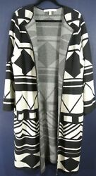 NEW Nordstrom Collection Cashmere Printed Sweater Jacket in BlackIvory - Size L