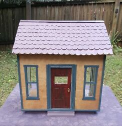 Dollhouse One Room Cottage She Shed with Working Door Chandelier