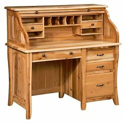 Amish Traditional Roll Top Desk Raised Panels Solid Wood Organizer 48