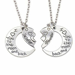 925 Sterling Silver I Love You To The Moon And Back Mother & Daughter Necklace