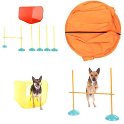 Agility Dog Training Indoor Kit Training Equipment Tunnel Weave Poles Course NEW $63.99