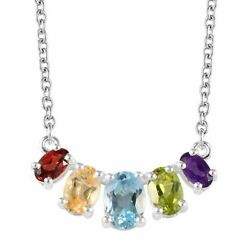 925 Sterling Silver Blue Topaz Peridot Bridal Bar Necklace for Women Jewelry 18
