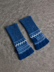 $195 BURBERRY CABLE PATCHWORK FAIR ISLE FINGERLESS CASHMERE GLOVES - BLUE - NWT!