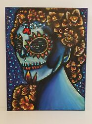 She Who Devours Stars Original Day of the Dead Girl Painting with Faux Gemstones
