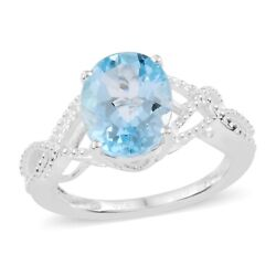 Solitaire Ring 925 Sterling Silver Sky Blue Topaz for Women Ct 2