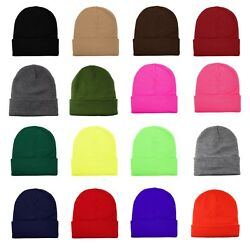 Unisex Plain Warm Knit Beanie Hat Cuff Skull Ski Cap 1pc - 12pcs Wholesale lot