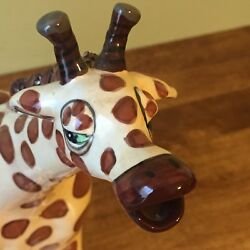 Blue Sky Hand Painted Giraffe Ceramic Tea Pot With Lid $39.99