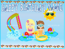 POOL SWIM PARTY TEENAGERS: Personalized Edible Cake Topper $8.79