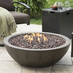 Outdoor Fire Bowl Propane Gas Backyard Patio Deck Stone Fireplace W Cover Large