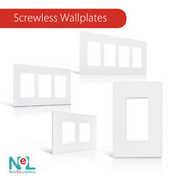 Screwless Wallplate 1-4 Gang White Switch Plate Outlet Cover