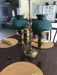 antique lamps brass electric beautiful dark green shades. Over 100 years old. $4000.00