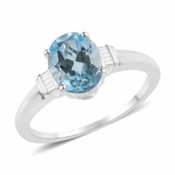 925 Sterling Silver Oval Sky Blue Topaz Solitaire Promise Ring Jewelry