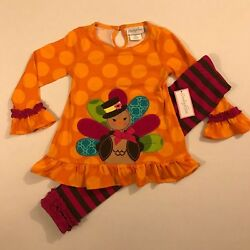 Emily Rose NWT 2T 3T 4 5 6 8 Boutique Thanksgiving Turkey Fall Tunic Outfit
